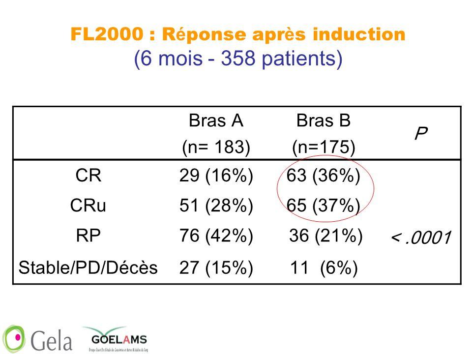 FL2000 : Réponse après induction (6 mois - 358 patients)