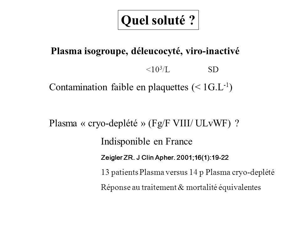 Quel soluté Plasma isogroupe, déleucocyté, viro-inactivé