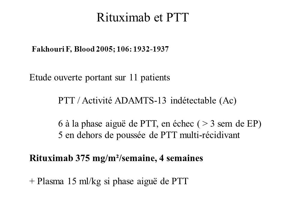 Rituximab et PTT Etude ouverte portant sur 11 patients