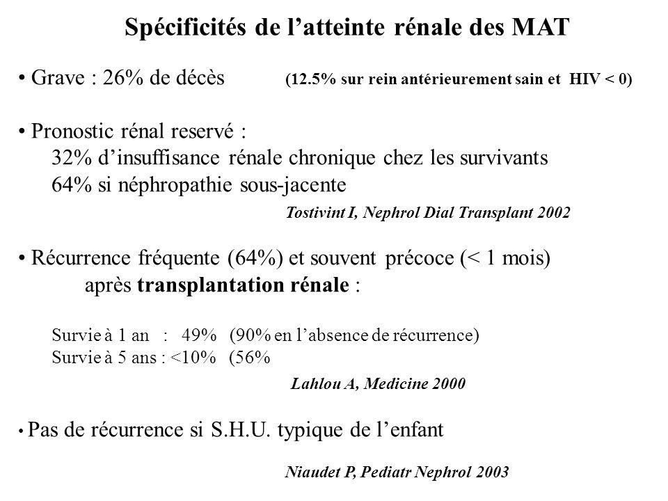 Spécificités de l'atteinte rénale des MAT