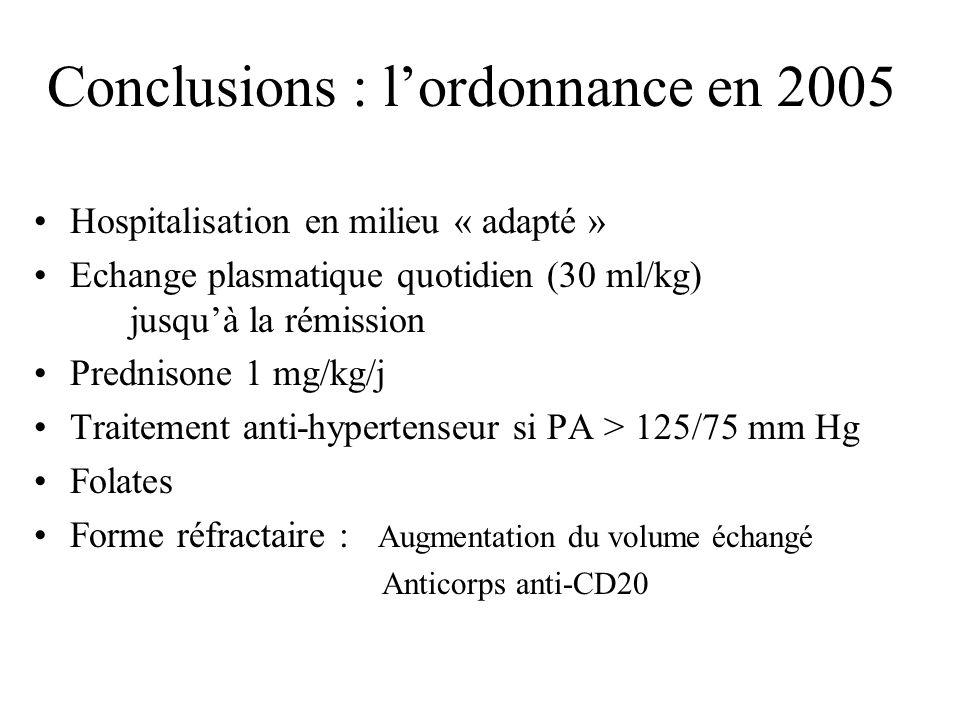 Conclusions : l'ordonnance en 2005