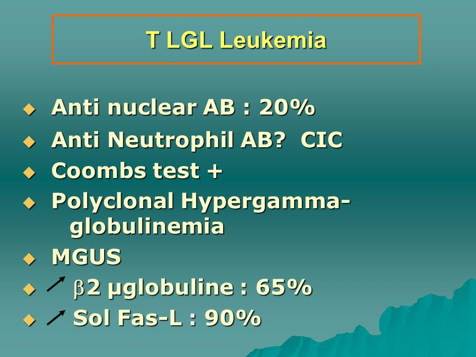 T LGL Leukemia Anti nuclear AB : 20% Anti Neutrophil AB CIC