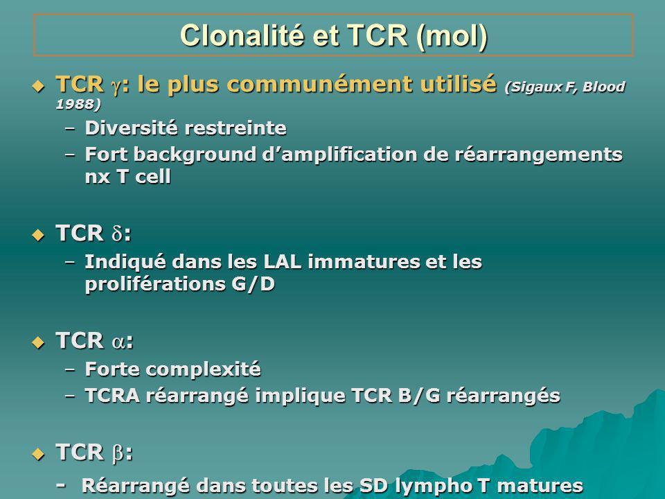 Clonalité et TCR (mol) TCR : le plus communément utilisé (Sigaux F, Blood 1988) Diversité restreinte.