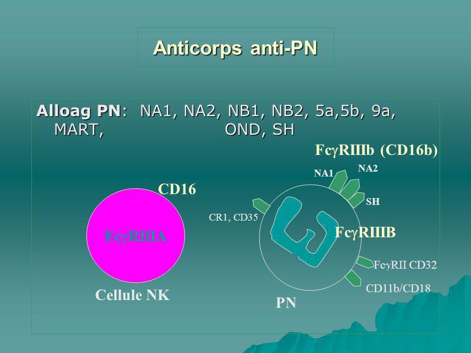 Anticorps anti-PN Alloag PN: NA1, NA2, NB1, NB2, 5a,5b, 9a, MART, OND, SH. FcRIIIb (CD16b) NA2.