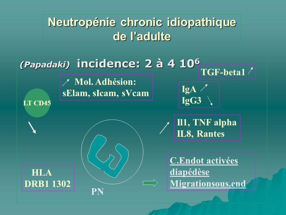 Neutropénie chronic idiopathique de l'adulte