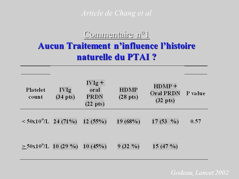 Article de Chang et al Commentaire n°1 Aucun Traitement n'influence l'histoire naturelle du PTAI