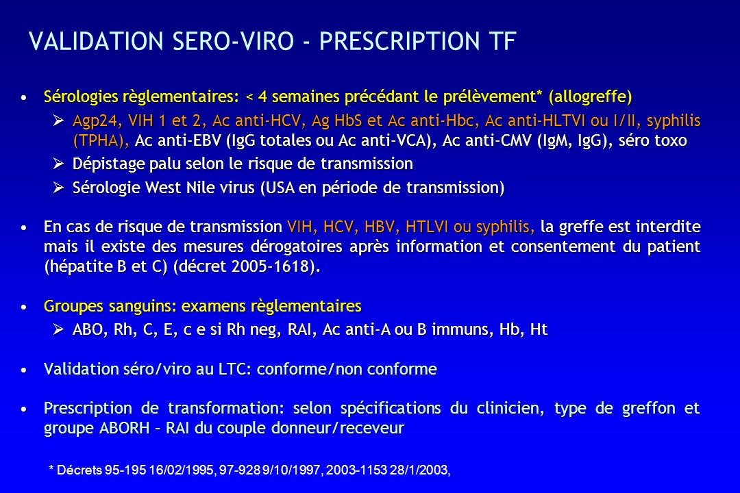 VALIDATION SERO-VIRO - PRESCRIPTION TF