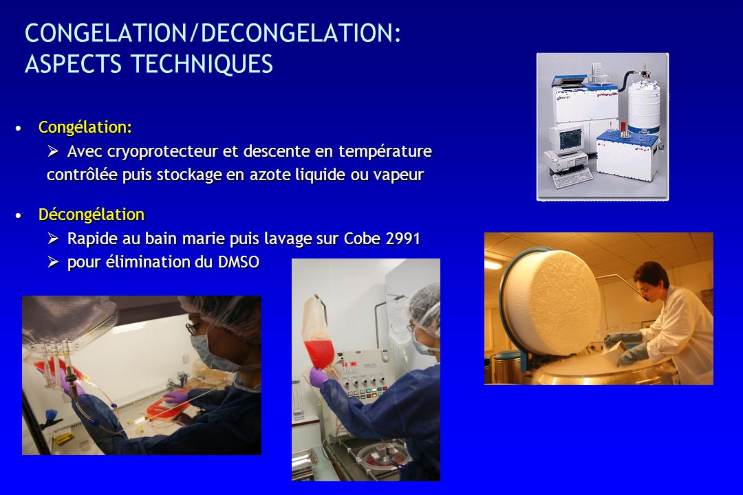 CONGELATION/DECONGELATION: ASPECTS TECHNIQUES