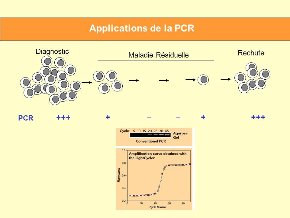 Applications de la PCR +++ + Diagnostic Rechute Maladie Résiduelle _