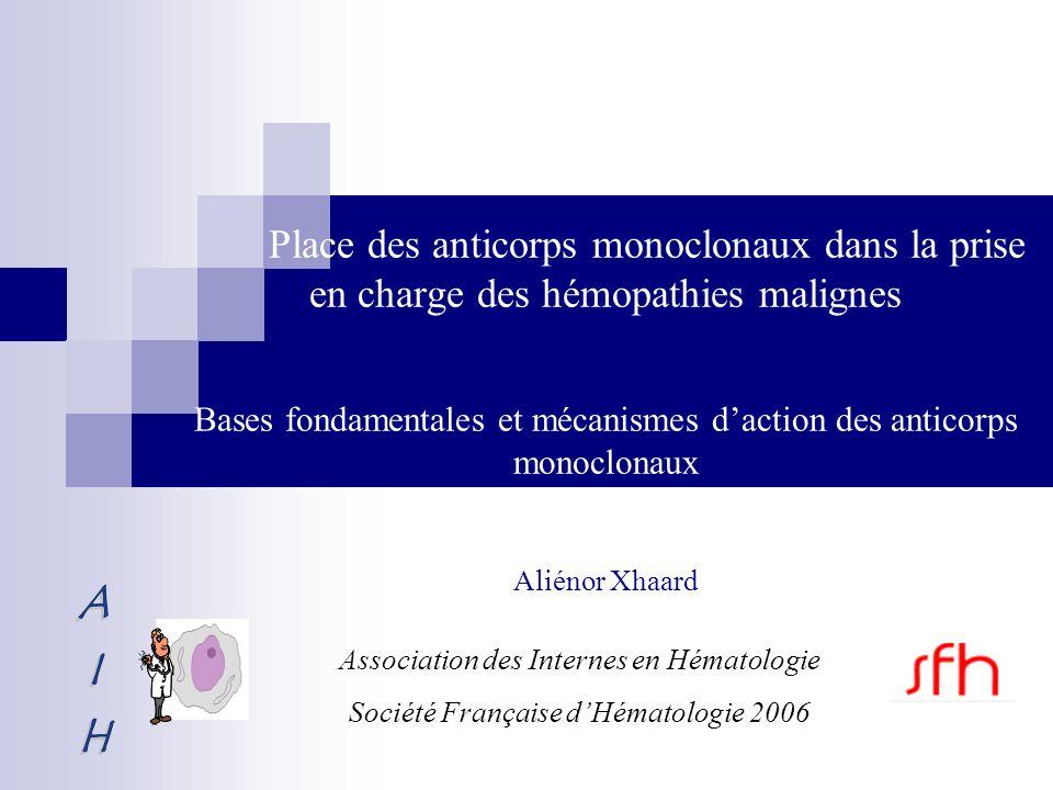 Place des anticorps monoclonaux dans la prise en charge des hémopathies malignes Bases fondamentales et mécanismes d'action des anticorps monoclonaux Aliénor Xhaard