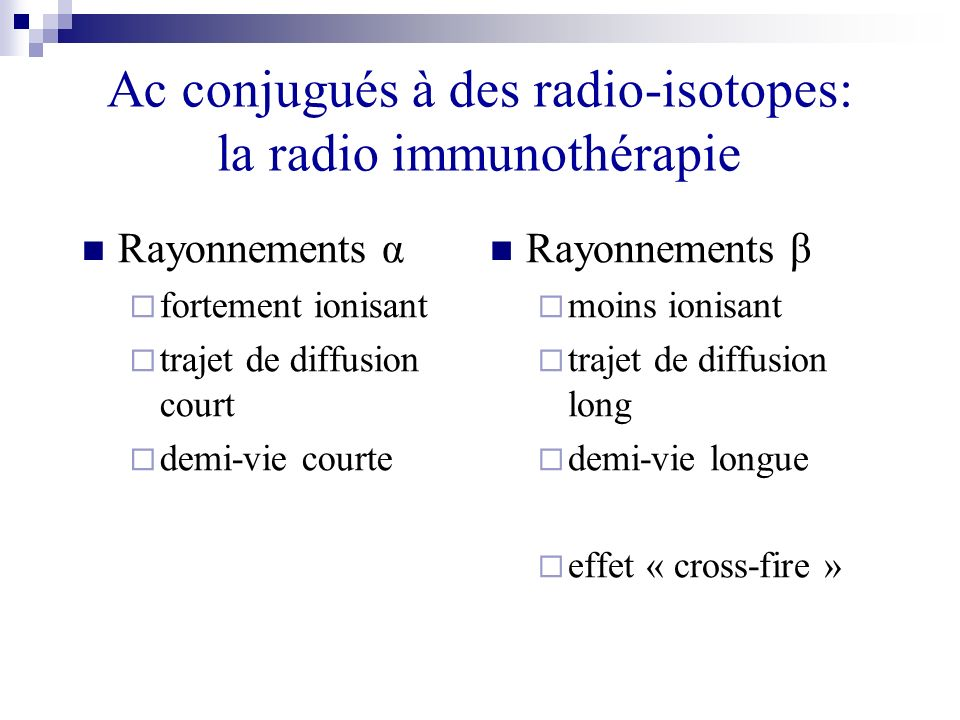 Ac conjugués à des radio-isotopes: la radio immunothérapie