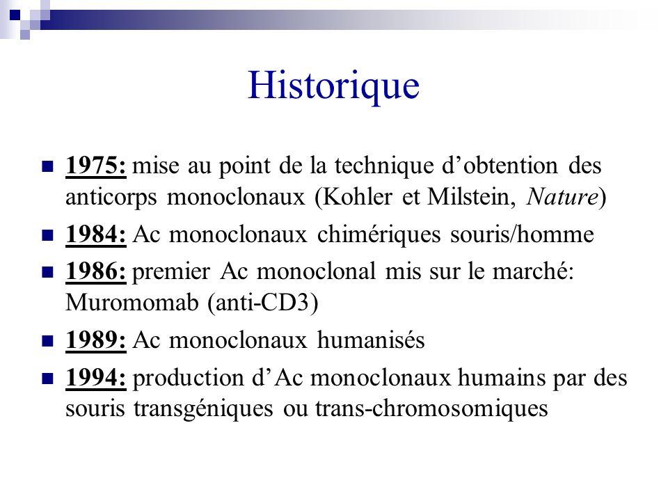 Historique 1975: mise au point de la technique d'obtention des anticorps monoclonaux (Kohler et Milstein, Nature)