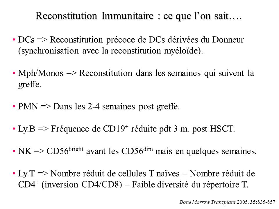 Reconstitution Immunitaire : ce que l'on sait….
