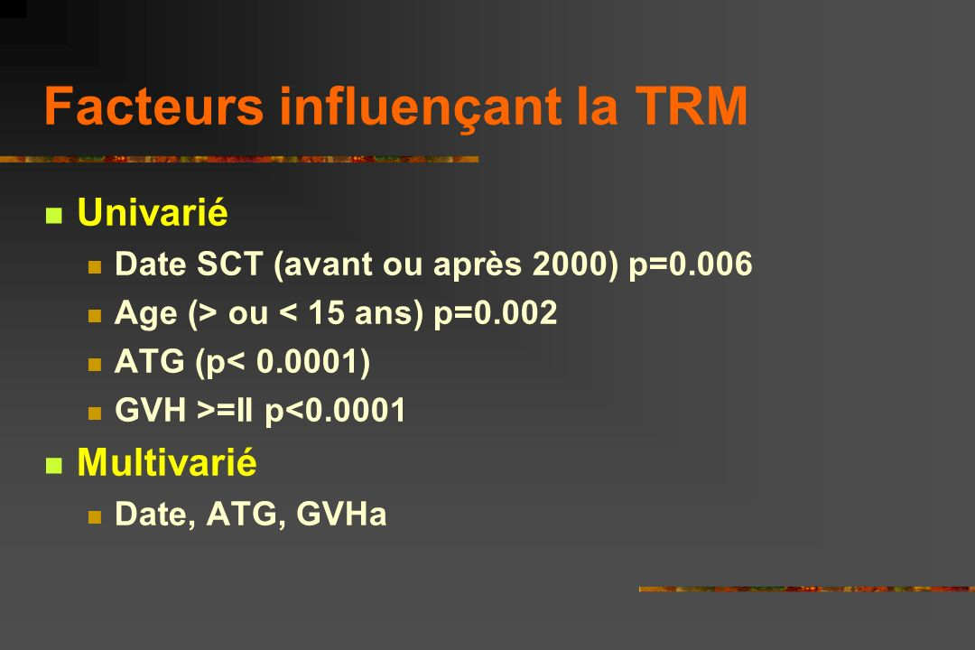 Facteurs influençant la TRM