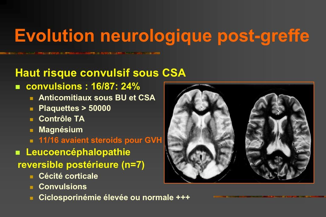 As previously reported in a cooperative study in American and French institutions, the risk of seizures on CSA therapy was high in these patients, even in those with no history of stroke.