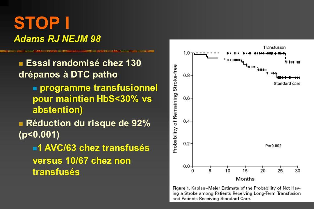 STOP I Adams RJ NEJM 98 Essai randomisé chez 130 drépanos à DTC patho