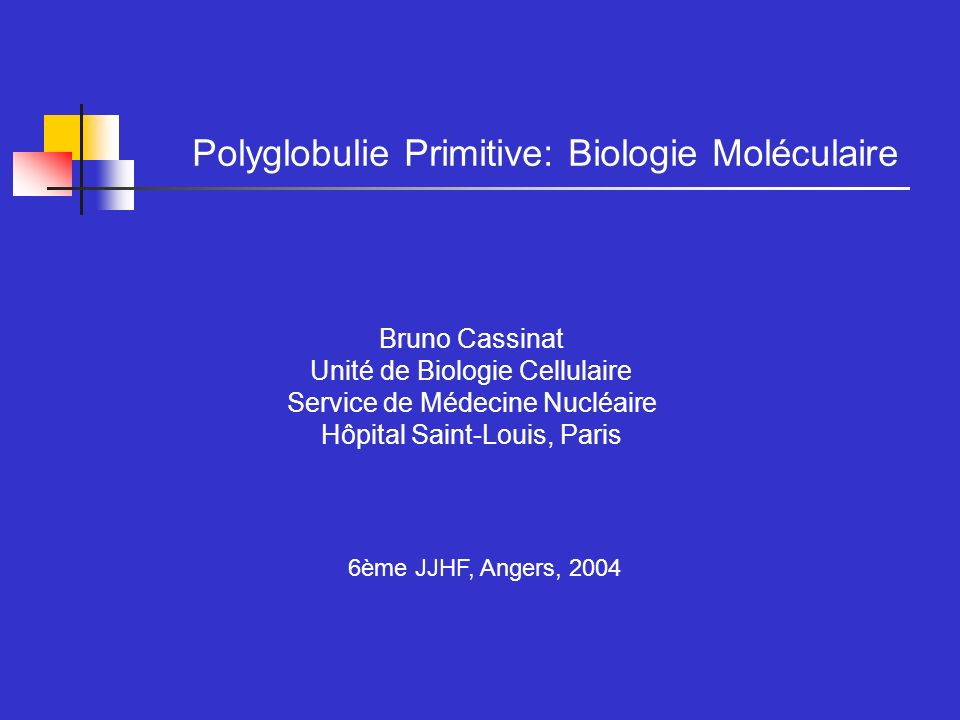Polyglobulie Primitive: Biologie Moléculaire