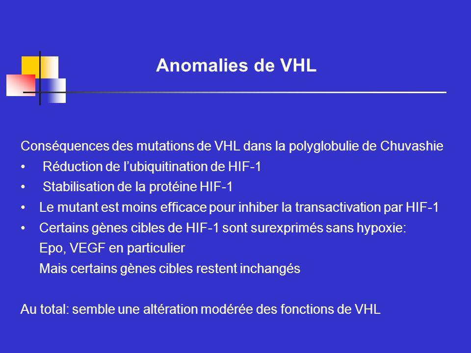 Anomalies de VHL Conséquences des mutations de VHL dans la polyglobulie de Chuvashie. Réduction de l'ubiquitination de HIF-1.