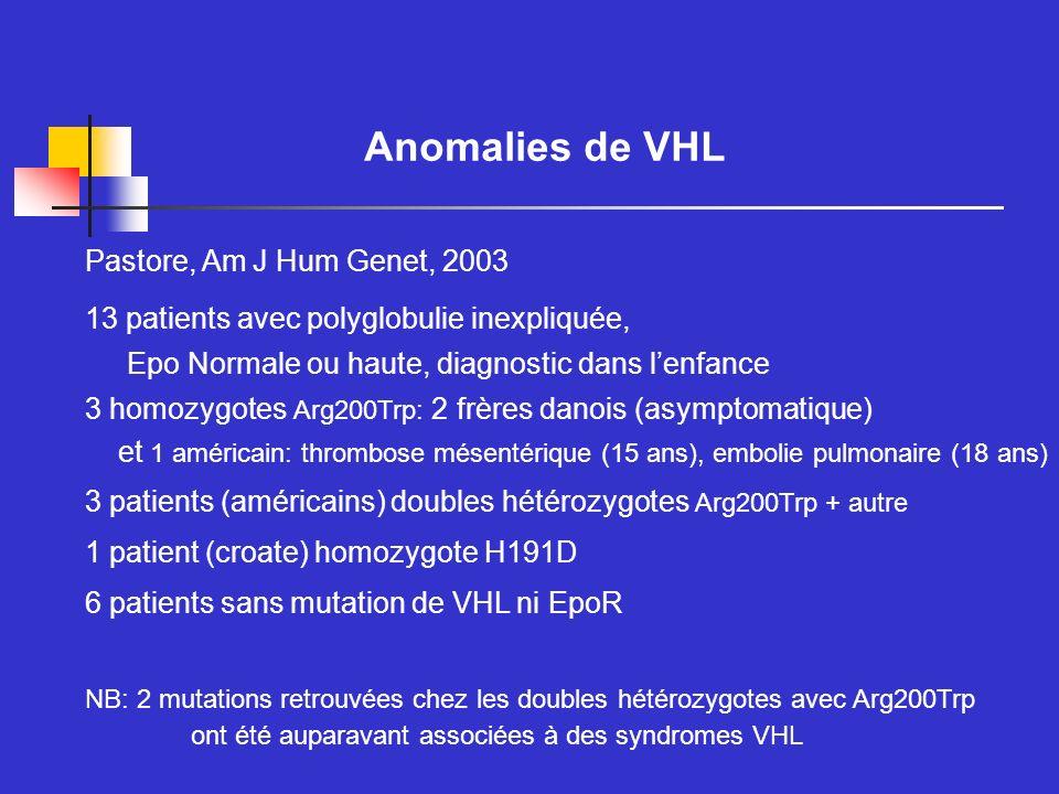 Anomalies de VHL Pastore, Am J Hum Genet, 2003