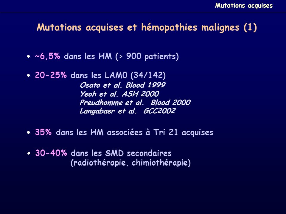 Mutations acquises et hémopathies malignes (1)
