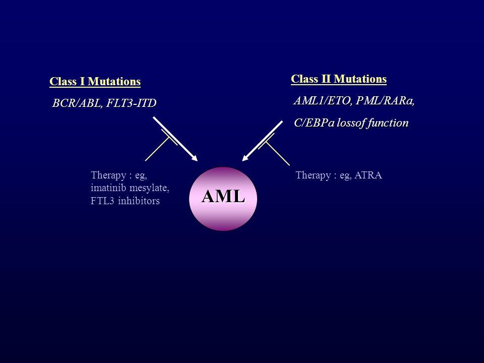 AML Class II Mutations Class I Mutations AML1/ETO, PML/RARa,