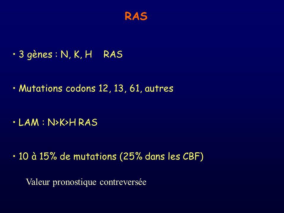 RAS 3 gènes : N, K, H RAS Mutations codons 12, 13, 61, autres