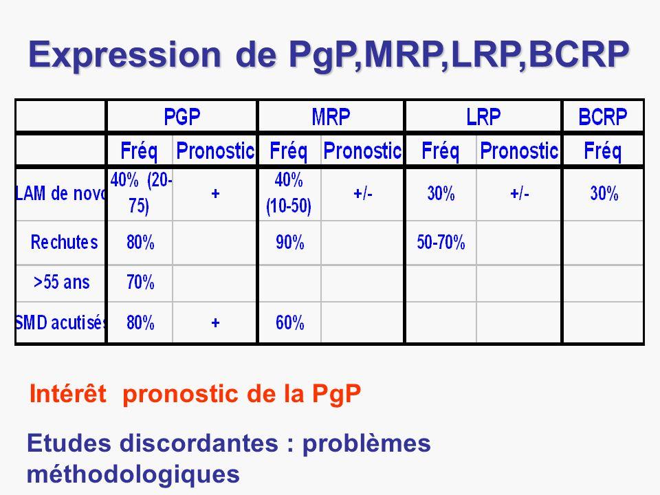 Expression de PgP,MRP,LRP,BCRP