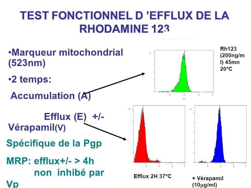 TEST FONCTIONNEL D 'EFFLUX DE LA RHODAMINE 123