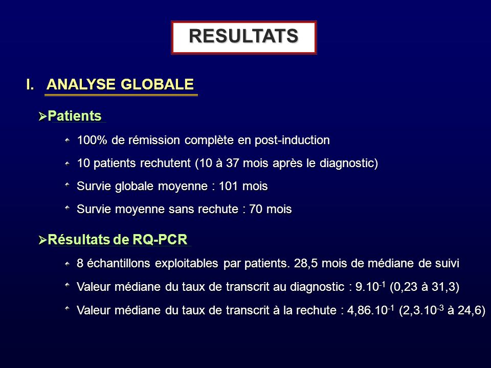 RESULTATS I. ANALYSE GLOBALE Ø Patients