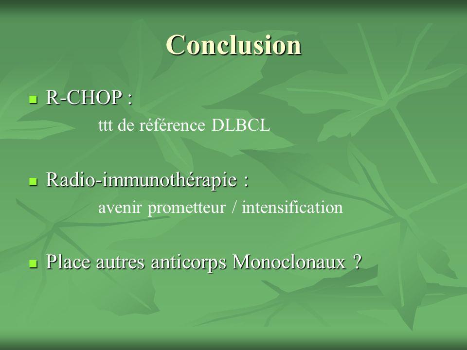 Conclusion R-CHOP : Radio-immunothérapie :