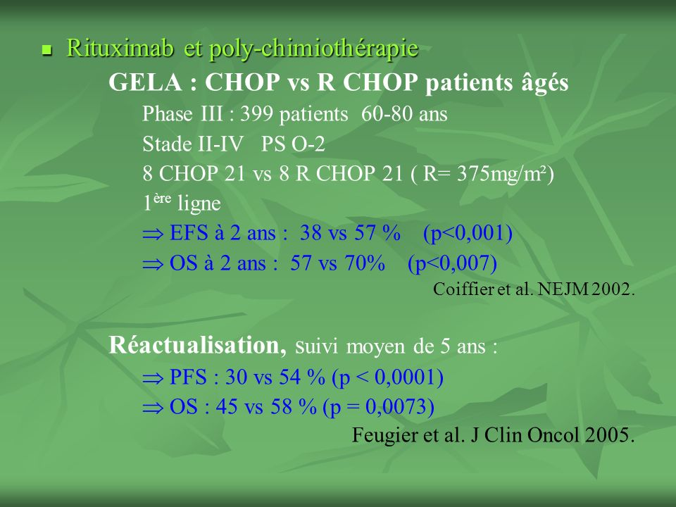 Rituximab et poly-chimiothérapie GELA : CHOP vs R CHOP patients âgés