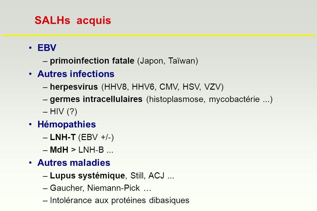 SALHs acquis EBV Autres infections Hémopathies Autres maladies