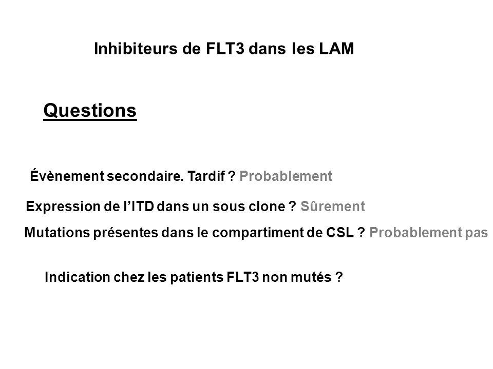 Questions Inhibiteurs de FLT3 dans les LAM