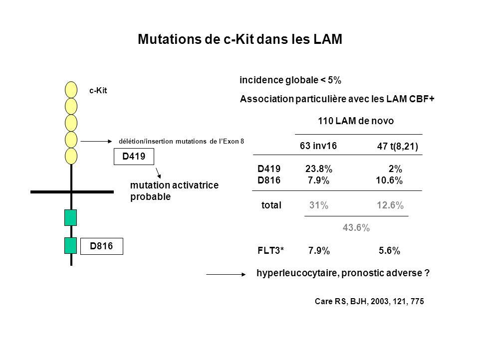 Mutations de c-Kit dans les LAM