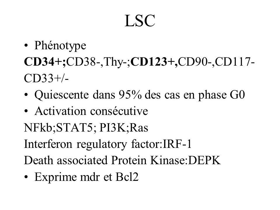 LSC Phénotype CD34+;CD38-,Thy-;CD123+,CD90-,CD117- CD33+/-