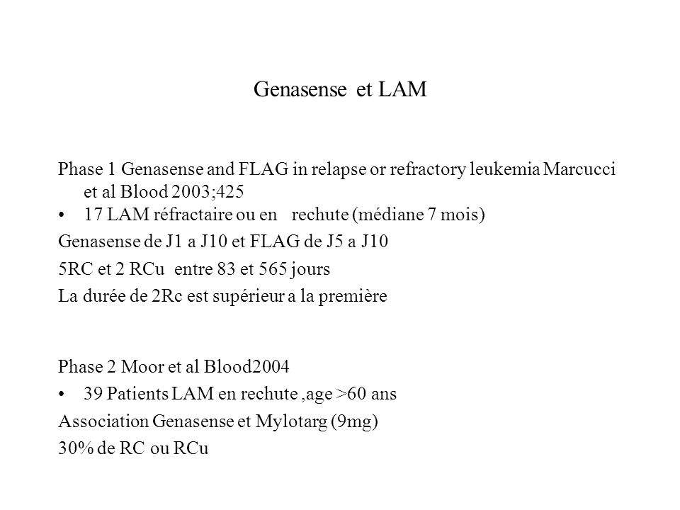 Genasense et LAM Phase 1 Genasense and FLAG in relapse or refractory leukemia Marcucci et al Blood 2003;425.