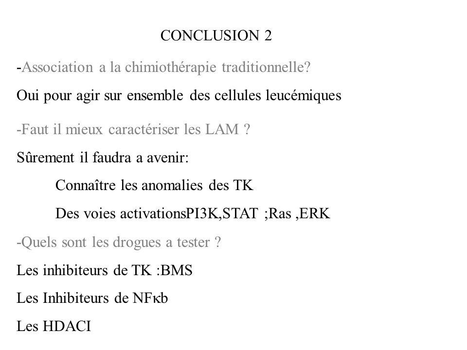 CONCLUSION 2 -Association a la chimiothérapie traditionnelle Oui pour agir sur ensemble des cellules leucémiques.