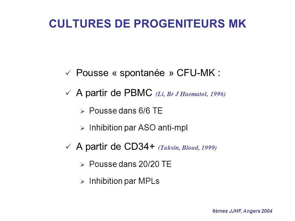 CULTURES DE PROGENITEURS MK