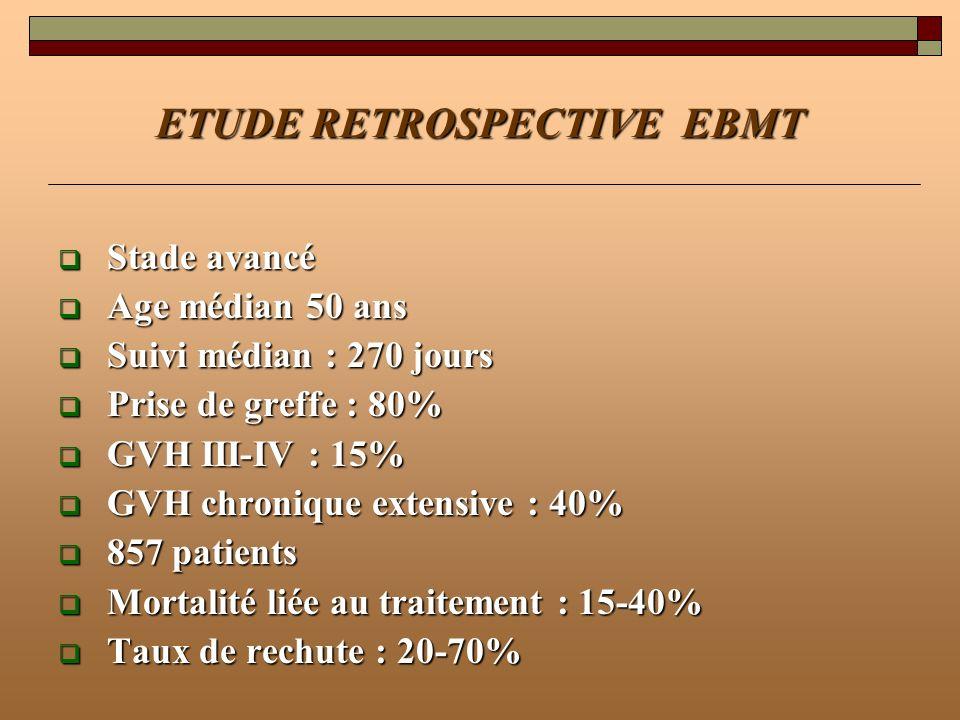 ETUDE RETROSPECTIVE EBMT