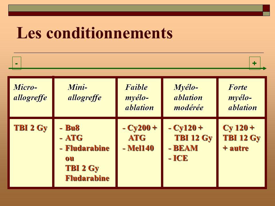 Les conditionnements - + Micro- Mini- Faible Myélo- Forte