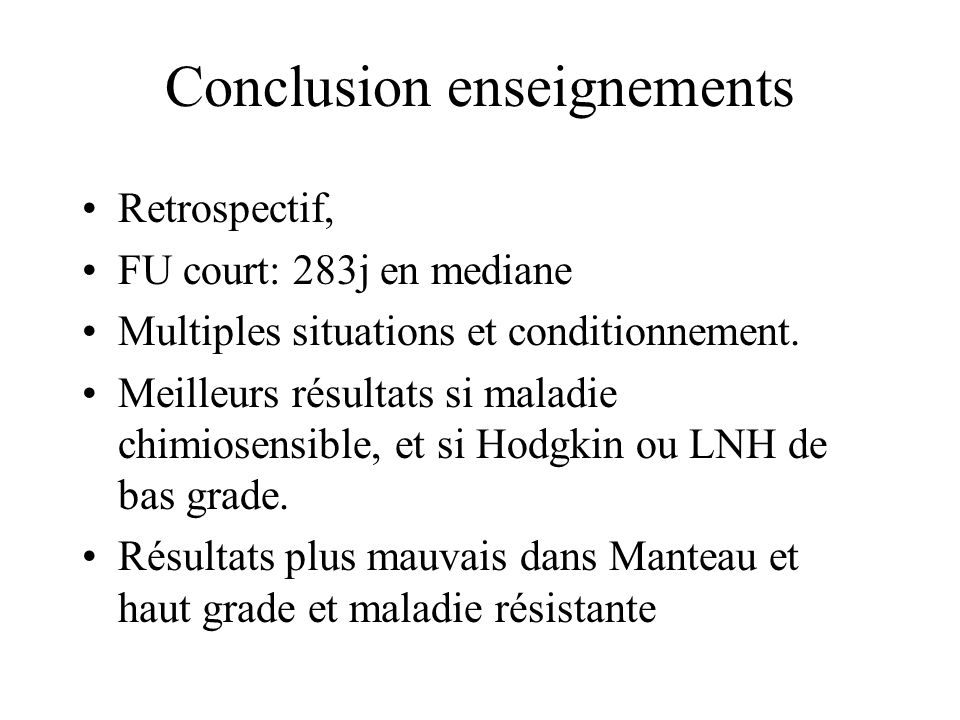 Conclusion enseignements