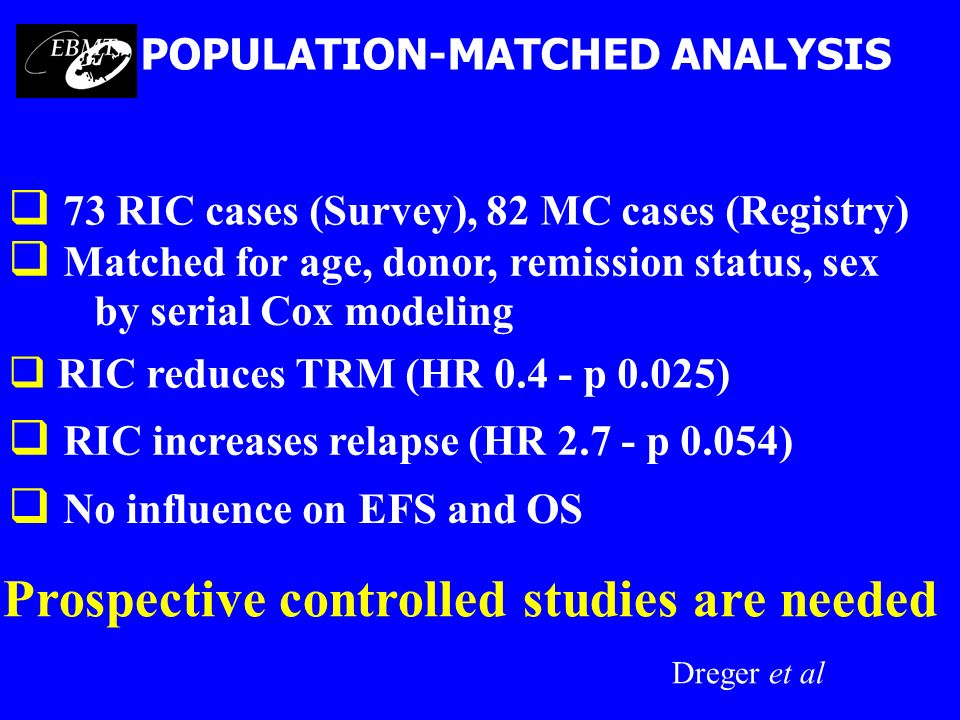 POPULATION-MATCHED ANALYSIS Prospective controlled studies are needed