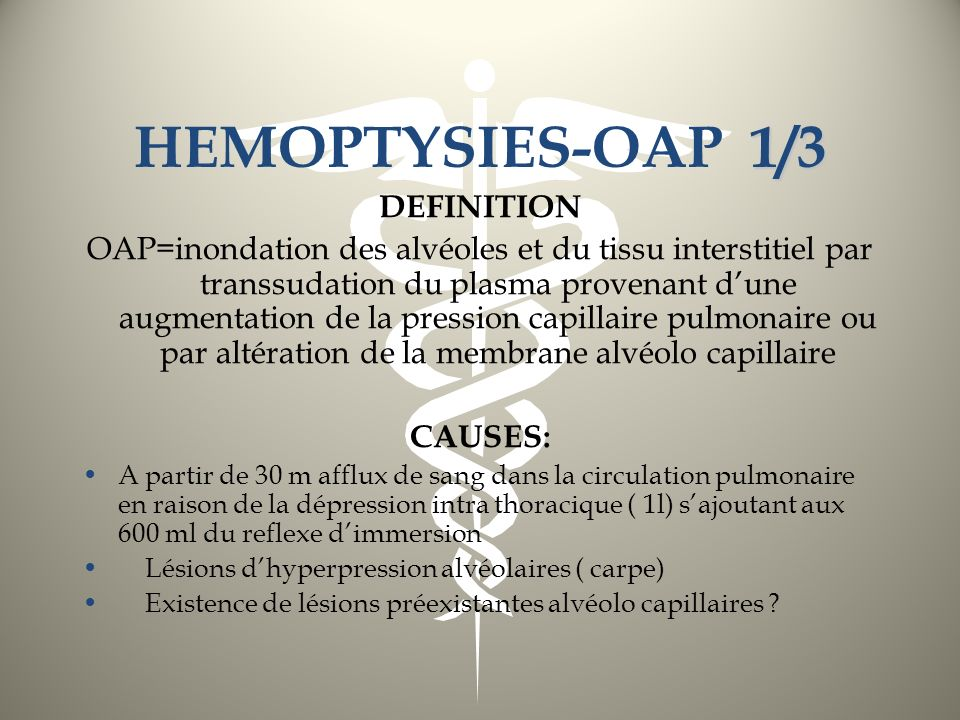 HEMOPTYSIES-OAP 1/3 DEFINITION
