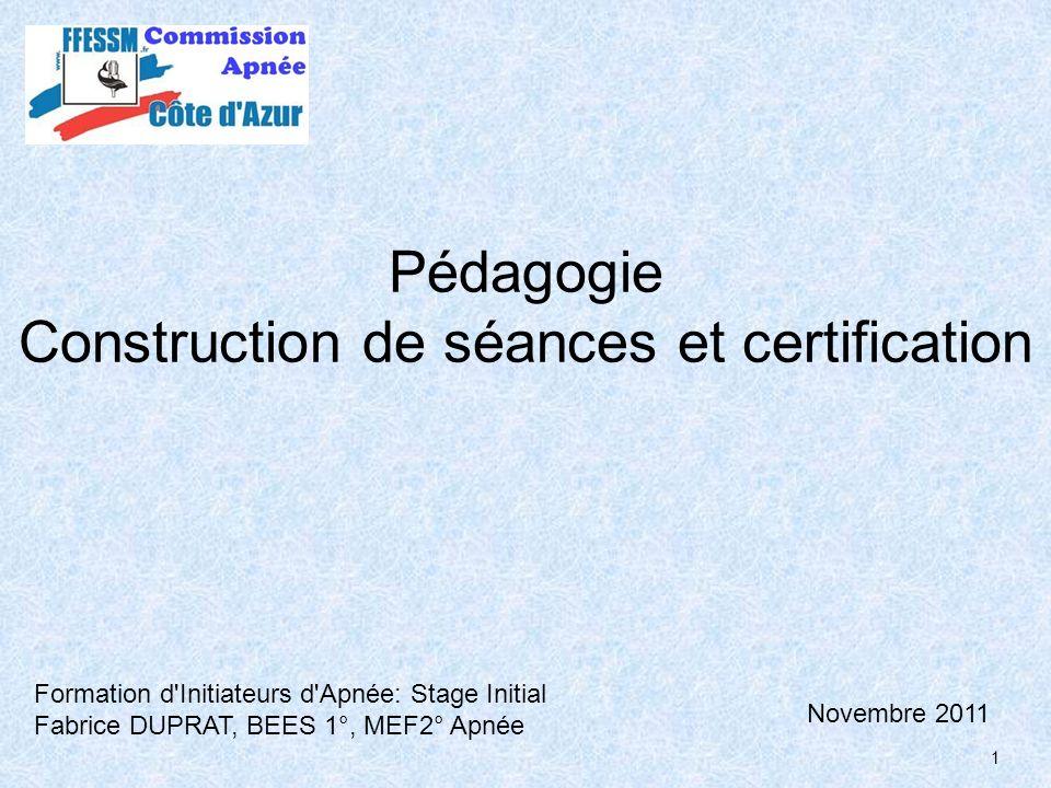 Pédagogie Construction de séances et certification
