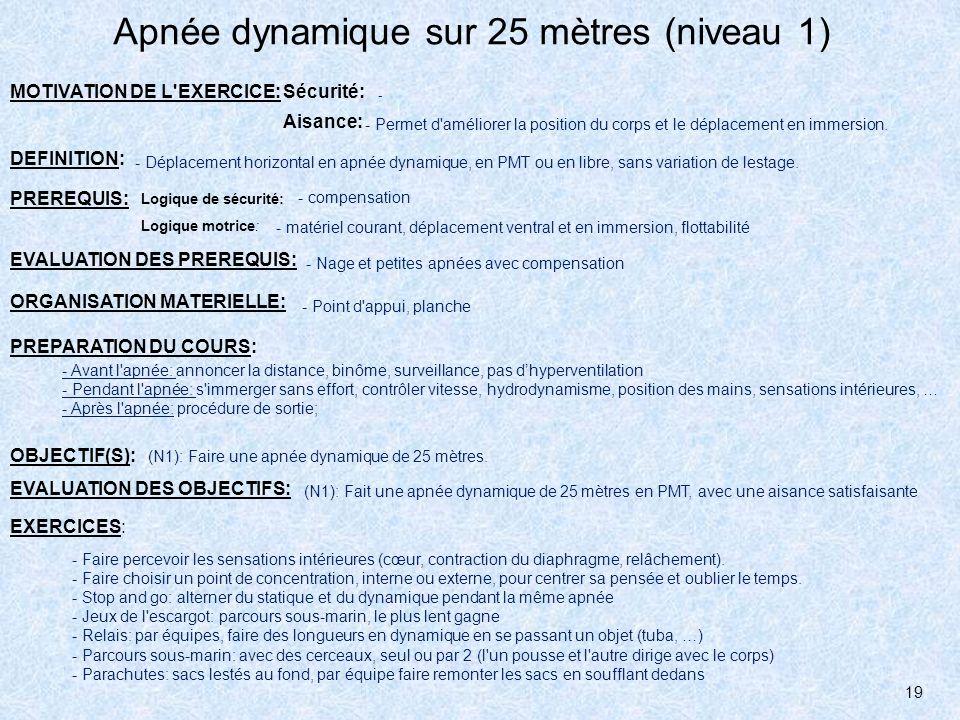 Apnée dynamique sur 25 mètres (niveau 1)