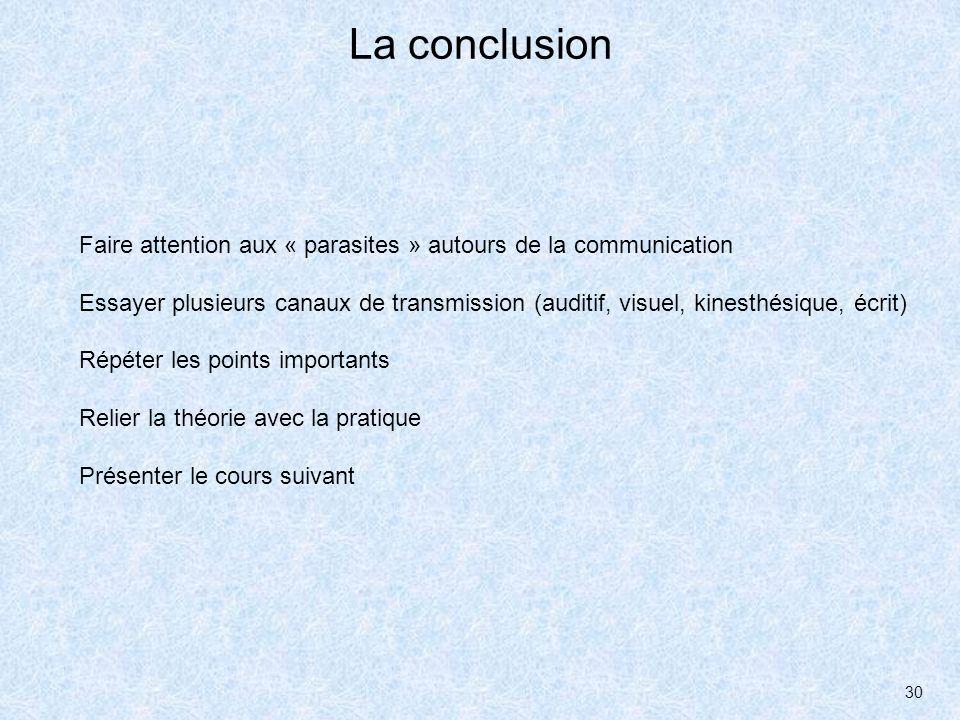La conclusionFaire attention aux « parasites » autours de la communication.