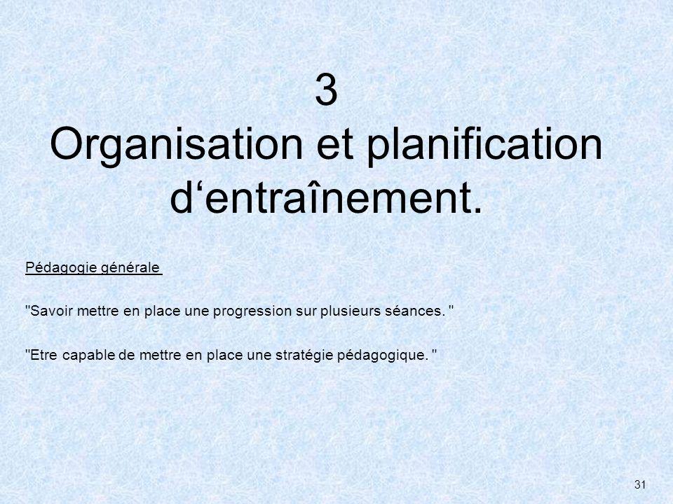 3 Organisation et planification d'entraînement.