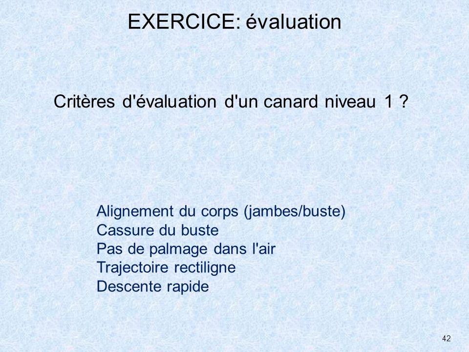 EXERCICE: évaluation Critères d évaluation d un canard niveau 1