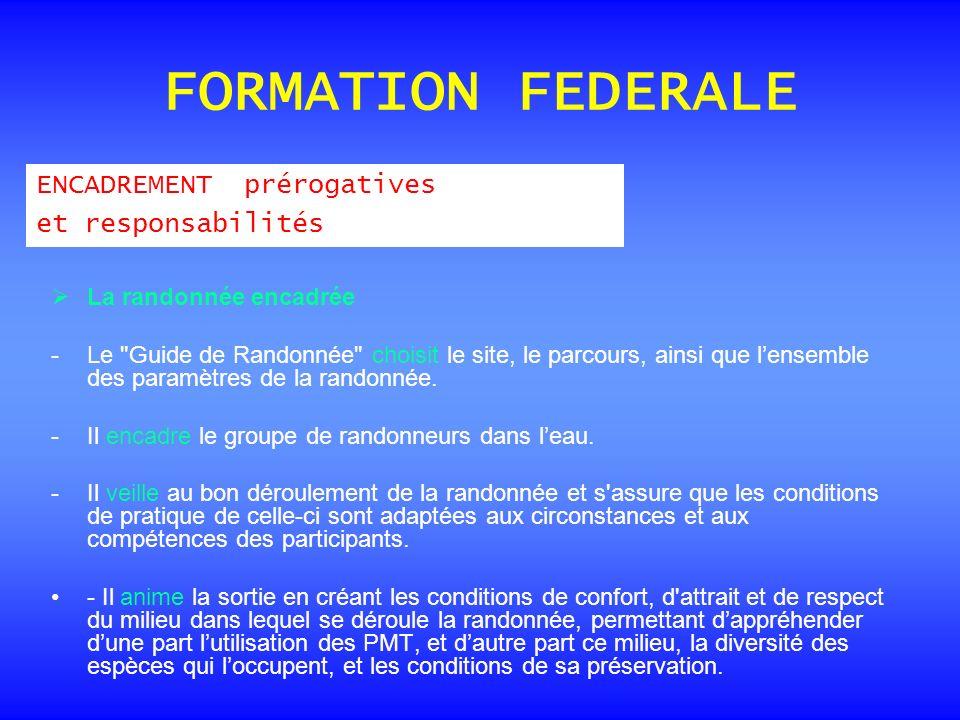 FORMATION FEDERALE ENCADREMENT prérogatives et responsabilités