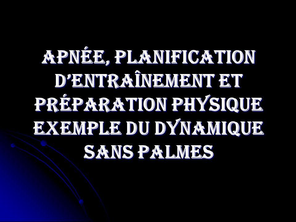 Apnée, planification d'entraînement et préparation physique exemple du dynamique sans palmes